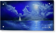Acrylic Print featuring the painting Moon Light Sail by Mary Scott