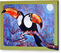 Moon Light Toucans Two Acrylic Print