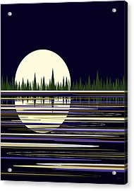 Acrylic Print featuring the digital art Moon Lit Water by Val Arie