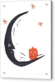 Moon Man And Jack-o-lantern Acrylic Print by Coralette Damme