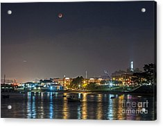 Acrylic Print featuring the photograph Moon Over Aquatic Park by Kate Brown