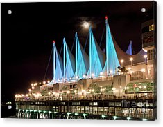 Moon Over Canada Place In Vancouver Acrylic Print