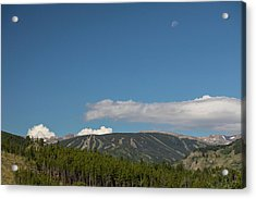 Acrylic Print featuring the photograph Moon Over Eldora Summer Season Ski Slopes by James BO Insogna