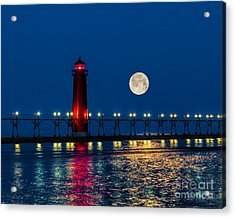Moon Over Grand Haven Acrylic Print