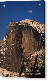 Moon Over Half Dome Acrylic Print by Stan and Anne Foster