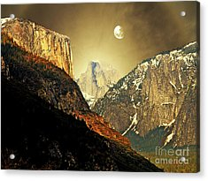 Moon Over Half Dome Acrylic Print by Wingsdomain Art and Photography