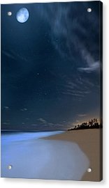 Moon Over Hobe Sound Beach Florida  Acrylic Print