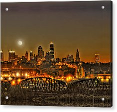 Moon Over Kansas City Mo Acrylic Print