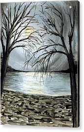 Moon Over Lake Acrylic Print by Terence John Cleary