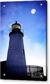 Acrylic Print featuring the photograph Moon Over Lighthouse by Scott Kemper