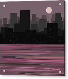 Moon Over Manhattan - A Different View Acrylic Print