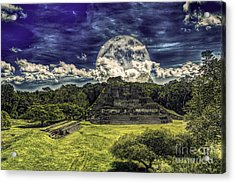 Moon Over Mayan Temple Two Acrylic Print by Ken Frischkorn