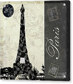 Moon Over Paris Postcard Acrylic Print
