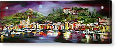 Moon Over Portofino Italy Oil Painting Acrylic Print