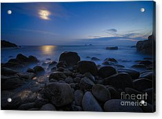 Moon Over Rocks At The Shore Acrylic Print by Royce Howland