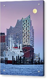 Acrylic Print featuring the photograph Moon Over The Elbe Philharmonic Hall by Marc Huebner