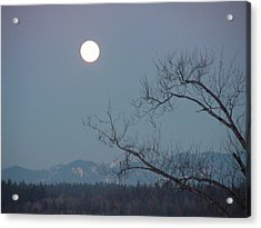 Moon Over The Olympics Acrylic Print by Gregory Smith