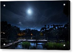 Moon Over The River Acrylic Print