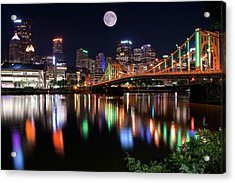 Moon Over The Steel City Acrylic Print