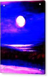moon over the Stillwater river  Acrylic Print by FeatherStone Studio Julie A Miller