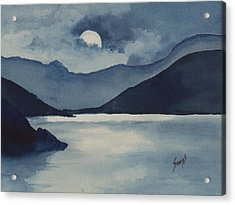 Moon Over The Water Acrylic Print by Sam Sidders