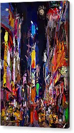 Moon Over Times Square Acrylic Print by Steve K