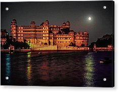 Moon Over Udaipur Acrylic Print by Steve Harrington