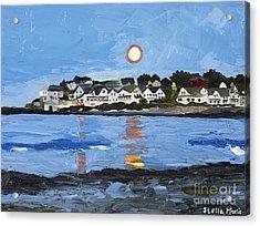 Moon Over York Beach Acrylic Print by Stella Sherman