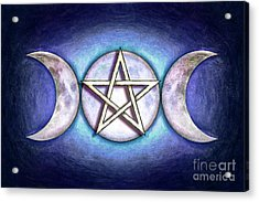 Moon Pentagram - Tripple Moon 1 Acrylic Print by Dirk Czarnota