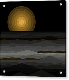Moon Rise Abstract - Black And Gold Acrylic Print by Val Arie
