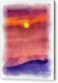 Moon Rise In Aquarelle Acrylic Print