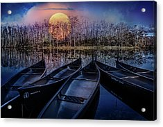 Acrylic Print featuring the photograph Moon Rise On The River by Debra and Dave Vanderlaan