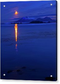 Moon Rise Over Mt. Edgecumbe Acrylic Print by Mike  Dawson