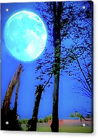 Moon Rising Over A Suburban Farm Acrylic Print by Rick Grossman
