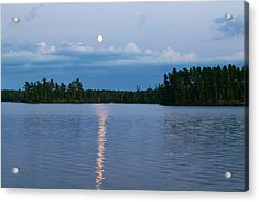 Moon Rising Over Lake One, Water Acrylic Print by Panoramic Images