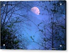 Moon Rising Over Mountain Acrylic Print by Molly Dean