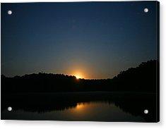 Moon Rising Over The Lake Acrylic Print by James Jones