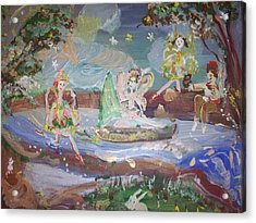 Acrylic Print featuring the painting Moon River Fairies by Judith Desrosiers