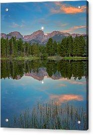 Full Moon Set Over Sprague Lake Acrylic Print by John Vose