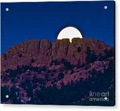 Moon Setting Behind Horsetooth Rock Acrylic Print by Harry Strharsky