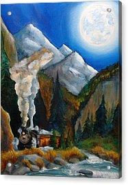 Moon Train  Acrylic Print by Andrea  Darlington