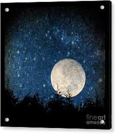 Moon, Tree And Stars Acrylic Print