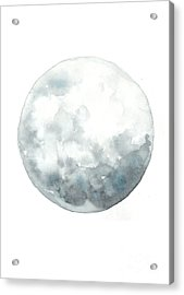 Moon Watercolor Art Print Painting Acrylic Print by Joanna Szmerdt