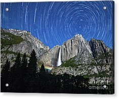 Moonbow And Startrails  Acrylic Print