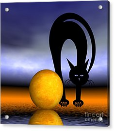 Mooncat's Play With The Fullmoon Acrylic Print
