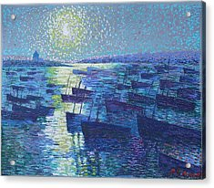Moonlight And Fishing Boat Acrylic Print