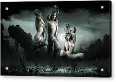 Moonlight Bathing Valkyries Acrylic Print