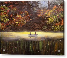 Moonlight Canoeing Acrylic Print by Connie Tom