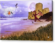 Moonlight Dragon Attack Acrylic Print by Diane Schuster