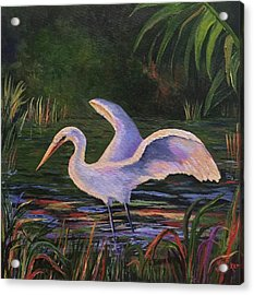 Moonlight Egret Acrylic Print